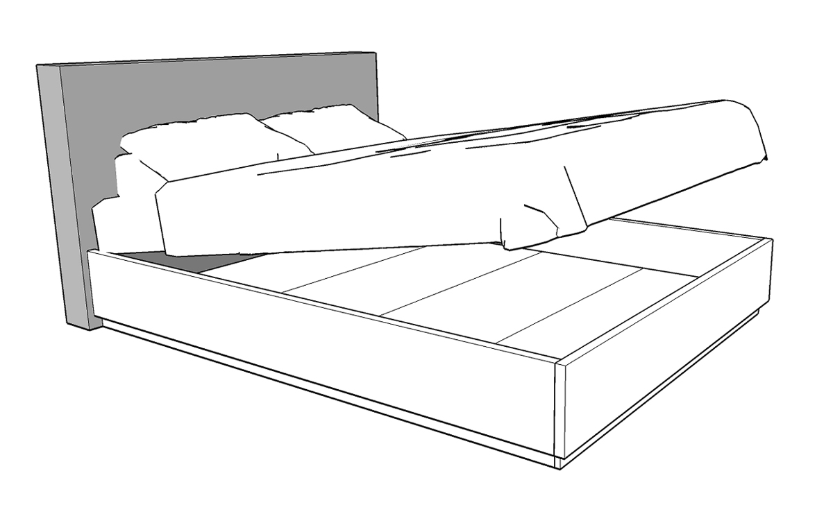 Maya Bed With Upholstered Headboard And Storage Mobican