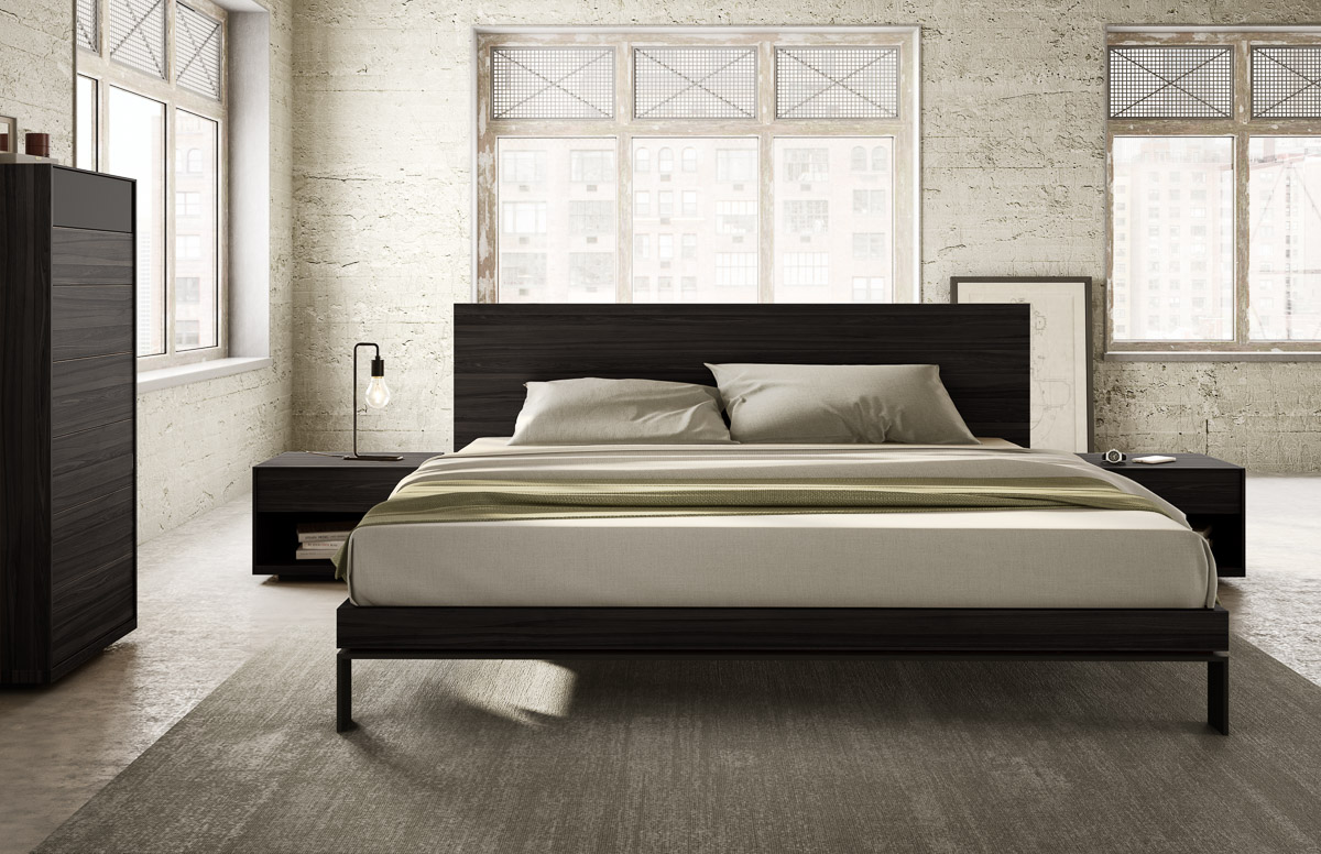 Bora Bed With Wood Headboard Brushed Nickel Legs Mobican